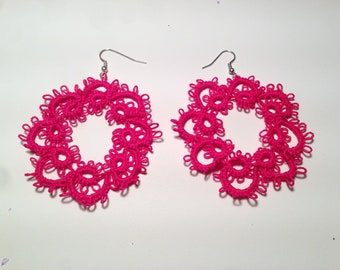 Earrings to neon pink Tatting-cotton-handmade