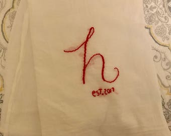 Letter Embroidered Flour Sack Towel