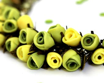 """Polymer clay necklace with flowers in lemon color and metalic leaves """"Lemonia"""""""