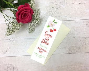 Cherry Blossom Save The Date Bookmark - Save The Date -Weddings -Bookmark - Floral Bookmark -Wedding -Wedding Stationary