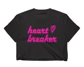 HEARTBREAKER Crop Top // 90's Neon Pink