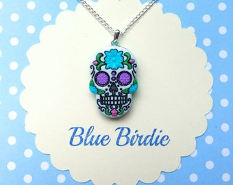 Sugar skull necklace blue sugar skull jewelry sugar skull pendant necklace sugar skull jewellery day of the dead jewelry silver plated chain