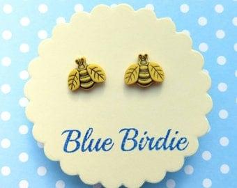 Bee earrings bee jewellery bee jewelry bee stud earrings bee earrings flower jewellery small bee earrings