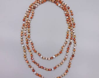 "60"" Carnelian Knotted Necklace"