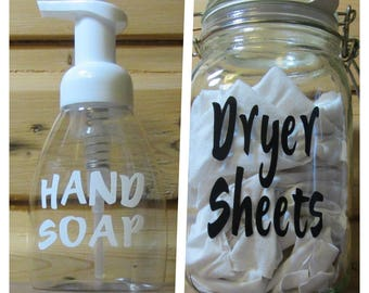 Custom Labels for Laundry Jars and Soaps Single or bulk options.