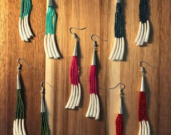 Beaded Dangle Dentalium Native American Earrings