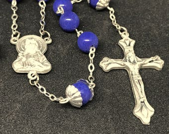 Navy Blue Dyed Lapis and Silver-Tone Rosary