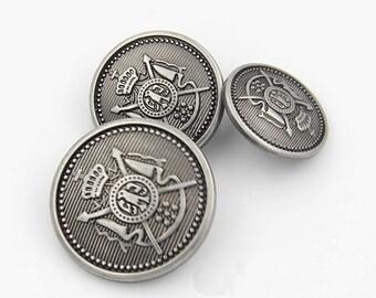 12PCS Etro Metal Buttons - Luxury Silverpaint Women Overcoat Fastener Décor -m9