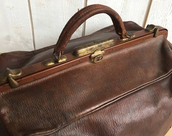 Large doctor bag, Gladstone bag leather bag