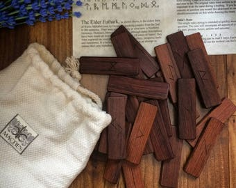 Rosewood Rune Set, Divination Runes, Viking Runes, Elder Futhark, Wooden Runes, Wood Runes