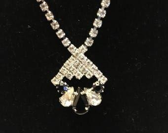 Vintage Rhinestone jewelry set, white and black