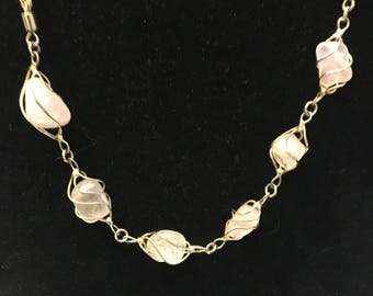 Rose quartz, wire wrapped, gold tone chain necklace
