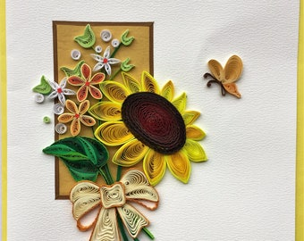 Sunflower and Butterfly Card - F026