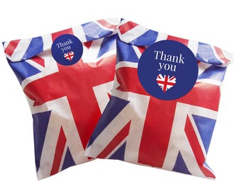 Union Jack paper party bags with 30mm or 60mm Blue stickers - 24 in pack (60mm Stickers)