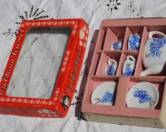 Vintage toy china tea set service for 2