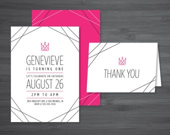 Modern Princess // Baby's First Birthday Invitation Suite