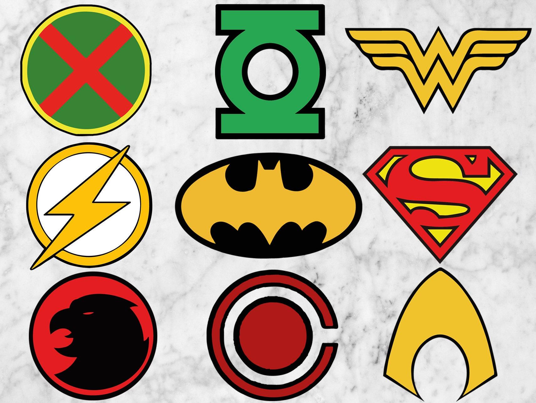 Justice league heros logos SVG Heros clipart Hero logo Svg Justice League Emblem Images