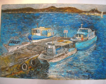 Pier Porquerolles-France-oil on canvas Board