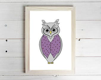 Grandpa Owl - Unframed Art Print, Owl Drawing, Nursery Picture, Animal Wall Art, Children's Decor, Kid's Bedroom.