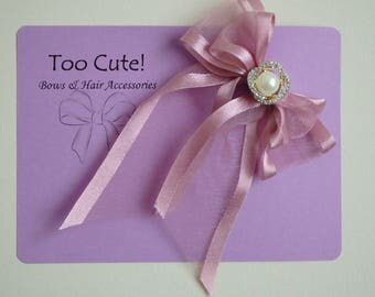 Pink Satin and Organza Hair Bow with Pearl and Rhinestone Embellishment