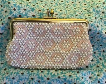 SALE!  Vintage St. Thomas Corde Bead Change Purse Clutch