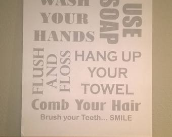 Bathroom decor sign