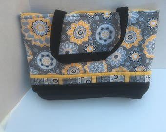 Yellow and white and orange flowers quilted tote