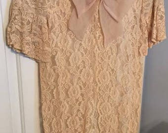 Lace with organza bow negligee (robe)