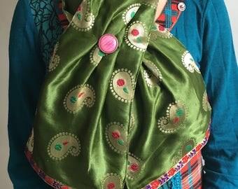 Sap green paisley silk scarf