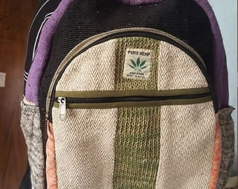 Hemp Backpack - Laptop Backpack - Striped Front