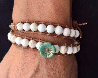 Magnesite and Copper Double Wrap Bracelet