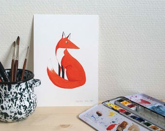 Print // sitting red fox // A5 watercolor reproduction // forest animal art