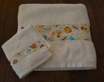 Towel Set / Towel / Face Washer / Baby / Newborn Gift / Baby Shower / Gender Neutral / Boy / Girl / Elephants