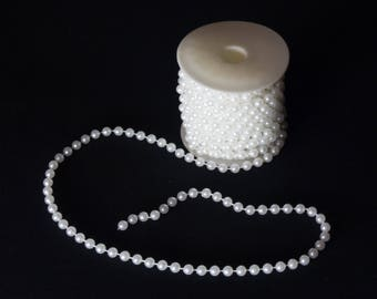 8mm Pearl Garland String - 10m Roll | Acrylic Pearls | White | Craft Supplies