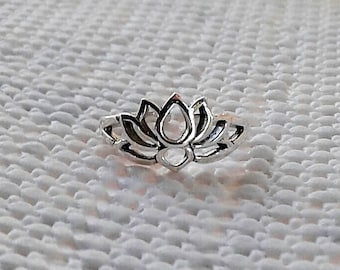 Toe Ring, Lotus Toe Ring, Adjustable Sterling Silver Toe Ring, Lotus Jewelry, Lotus Flower, Hindu Jewelry