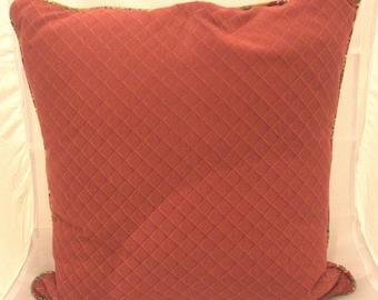 Custom Made Red pillow, throw pillow, cushion, decorative pillow, home decor, diamond shape pattern print,  accent pillow, down insert