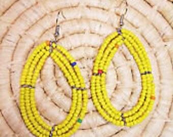 African earrings, African earring, Maasai earring, Yellow earrings