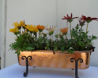 Copper planter and wrought iron vintage
