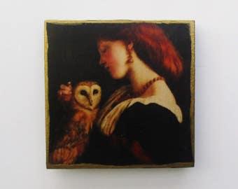 Girl with Owl, Beautiful Wall Art, Romantic Art, Romantic Wall Decor, Owl Art, Romantic Wall Art
