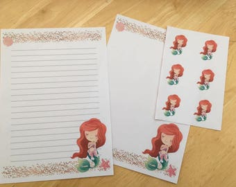 Ariel / Little Mermaid Set of 25 sheets letter writing paper and 6envelope seals