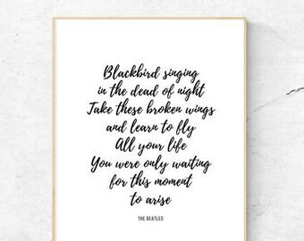 The Beatles | Blackbird | Printable | 8.5x11, 8x10