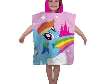 My Little Pony Equestria Kids Girls Boys Swimming Hooded Beach Bath Towel Poncho NEW