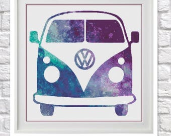 Galaxy Camper Van Counted Cross Stitch Pattern
