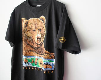 Vintage National Parks and Conservation Association Grizzly Bear T-Shirt // Oneita // Men's X-Large Made in USA