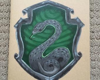 Hand Painted Slytherin Hogwarts Crest Notebook