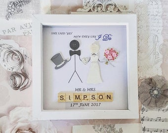 Personalised button/scrabble wedding frame