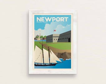Newport RI Vintage Style Travel Poster Giclee Art Print / Fort Adams