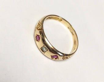 Victorian ruby & diamond gypsy set ring