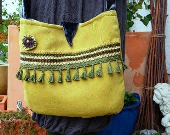 Bag, handbag, shoulder bag, tassels, pompons