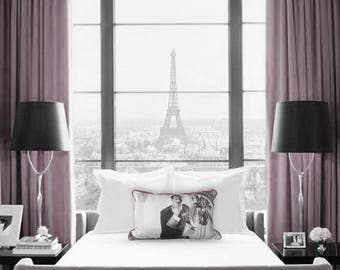 Home Decor, Designer, Digital Print Art, Feather Accent Throw Pillow, Bedroom, Bell Boy Blowing a Kiss